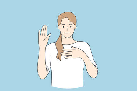 Loyalty promise oath concept. Young woman cartoon character wearing casual clothes swearing with hand on chest and open palm vector illustration