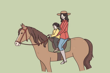Summer activities and riding concept. Young smiling woman mother and small daughter sitting on horse and riding together outdoors vector illustration