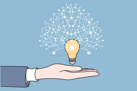 New idea, startup, Innovation concept. Human hand holding bright light bulb with new innovative ideas around over blue background vector illustration