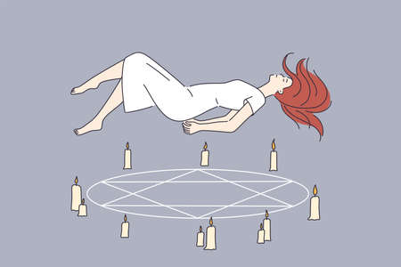Occult rituals and spirituality concept. Sleeping young Woman in white dress cartoon character flying over pentagram circle with candles vector illustration Vetores