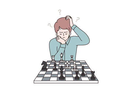 Intelligent, smart kids during hobbies concept. Clever concentrated and thinking child boy cartoon character sitting while playing chess, brain development vector illustration Ilustração Vetorial