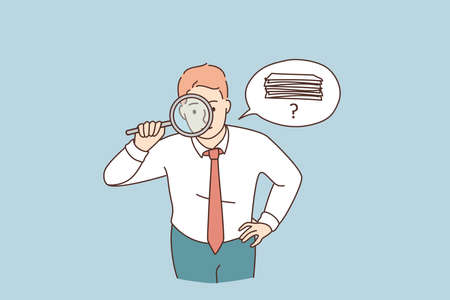 Searching for money or documents concept. Young attentive businessman cartoon character standing looking at magnifier trying to find money or official documents vector illustration Vektorgrafik