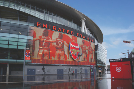 LONDON ENGLAND  FEBRUARY 14: Emirates stadium as seen from the outside on February 14 2014 in London England. The Emirates stadium is home of Arsenal Football Club. Editorial