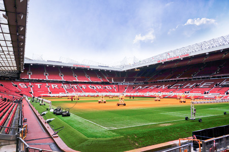 premiership: MANCHESTER ENGLAND  FEBRUARY 17: Old Trafford stadium on February 17 2014 in Manchester England. Old Trafford stadium is home to Manchester United.