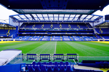 premiership: LONDON ENGLAND  FEBRUARY 14: Stamford Bridge Stadium on February 14 2014 in London UK. The Stamford Bridge is home to Chelsea Football Club.