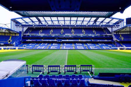 LONDON ENGLAND  FEBRUARY 14: Stamford Bridge Stadium on February 14 2014 in London UK. The Stamford Bridge is home to Chelsea Football Club.