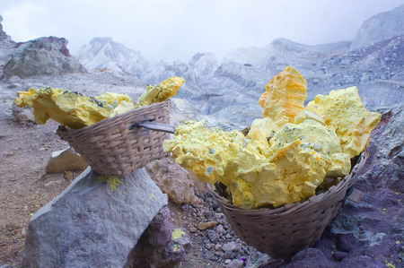 Sulfur carriers basket at Kawah Ijen