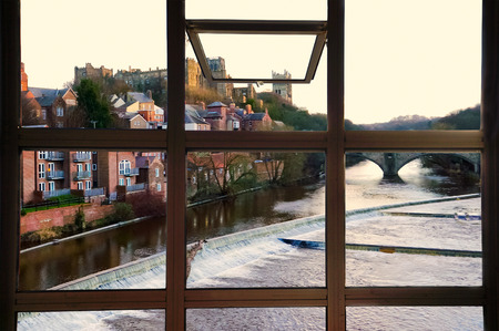 durham: Open window to Durham town, River Wear, and Prebends bridge in Durham, England.