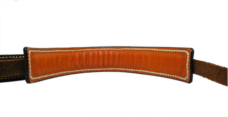 chamois leather: Brown wrinkle leather strap isolated on white background with handmade stitch Stock Photo