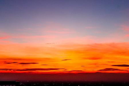 風景夕日、東京シティー ビュー
