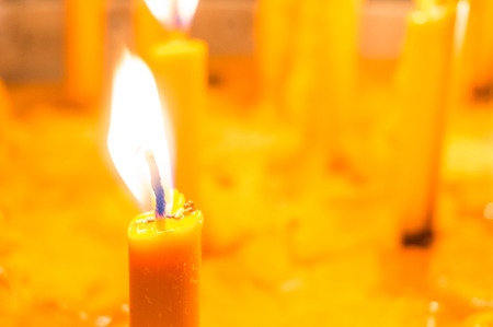 beeswax candle: Close up of candle isolated, selective focus.