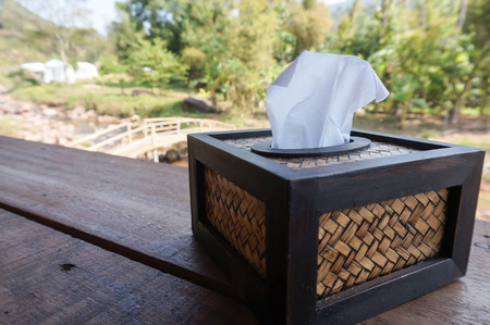 hankie: Tissue box on the table with nature background. Selective focus