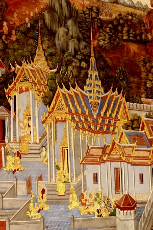 The old drawing in temple of Thailand