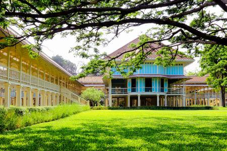 verandas: Ancient palace, Marukhathaiyawan Palace in Cha-Am,Petchaburi Province Thailand.