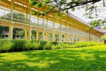 verandas: Ancient palace, wood bridge at Marukhathaiyawan Palace in Cha-Am,Petchaburi Province Thailand.