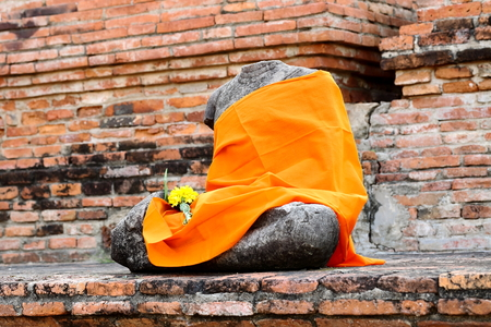 historic site: Ancient buddha statue at Mahathat temple that is historic site in Ayuttaya province,Thailand. Stock Photo