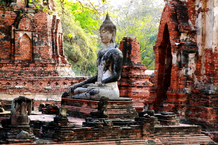 historic site: Ancient buddha statue at Mahathat temple, historic site in Ayuttaya province,Thailand.