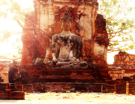 ayuttaya: Ancient buddha statue at Mahathat temple, historic site in Ayuttaya province,Thailand.