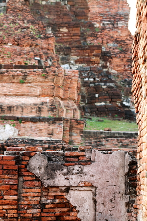 historic site: The old ruin of Mahathat temple,historic site in Ayuttaya province,Thailand. Stock Photo