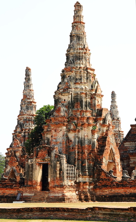 historic site: The old ruin of Chaiwattanaram temple,historic site in Ayuttaya province,Thailand. Stock Photo
