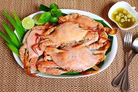 Steamed Blue swimming crabs or flower crabs.