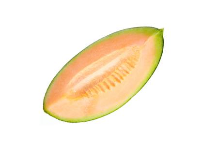Slices orange Melon fruit isolated on white background.