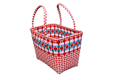 woven plastic baskets ,handmade plastic bag on white background.