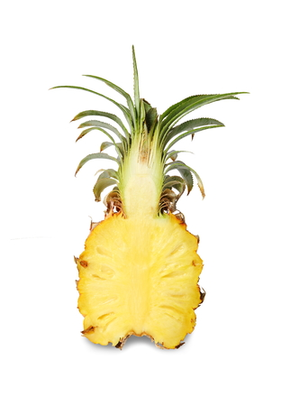 Close up haft pineapple isolated on white background.