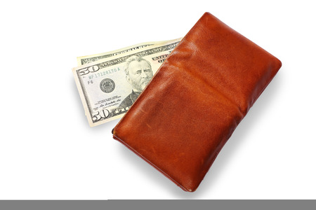 Men's Wallet With Dollar cash isolated on white background. Standard-Bild