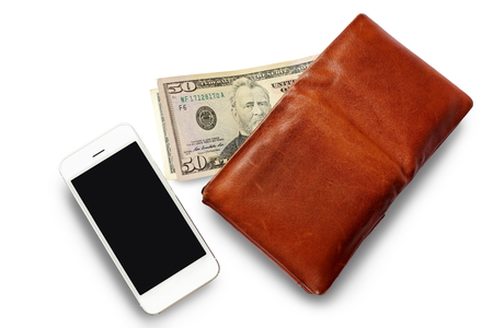 Men's Wallet with Dollar cash and Mobile phone isolated on white background.
