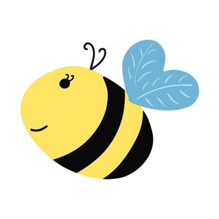 Smile funny bee. Cartoon style. 向量圖像