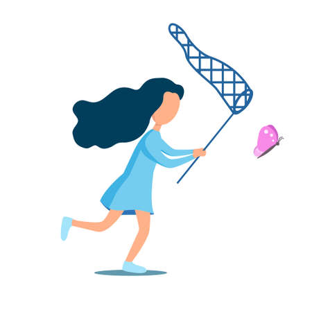 Girl catching butterfly with a net. Flat style. Vector isolated.