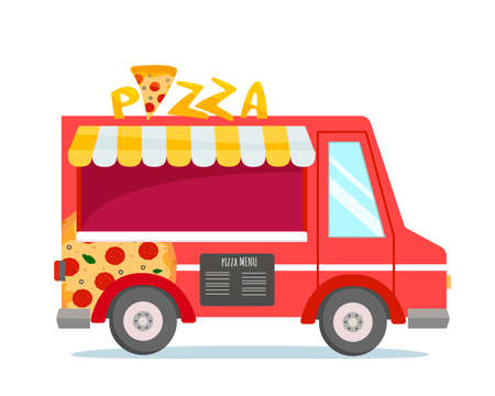 Bright food truck with pizza. Pizza menu and sign on top. Red car delivery. Food festival. Vector isolated. Vektoros illusztráció