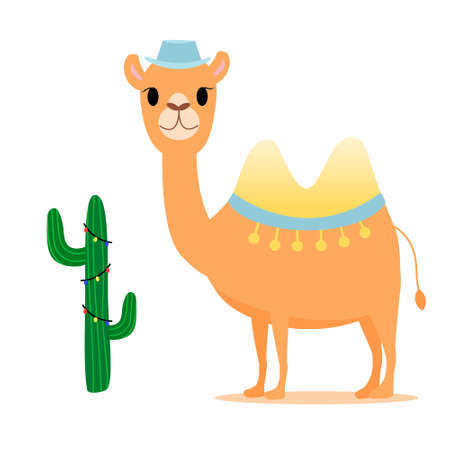 Cute camel in hat near cactus with garland. Good for postcard. Cartoon style. Vector isolated elements
