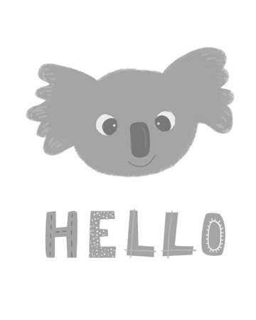 Funny cartoon fluffy koala head with big eyes. With lettering sign HELLO. Cute illustration for children.