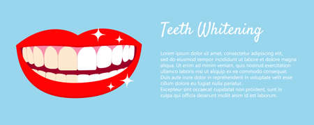 Teeth Whitening concept with laughed mouse and teeth before and after bleaching. With text places. Good for banners, posters. Vector isolated elemnts on blue background EPS10 Ilustração