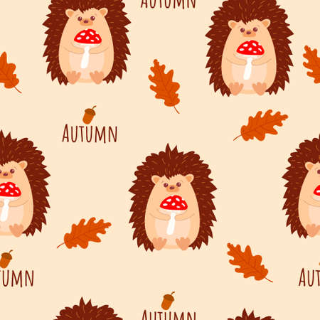 Seamless pattern with cute hedgehogs with mushrooms in his hands. With autumn sign amd oak autumn leaves. Cartoon style. Vector Vector Illustration