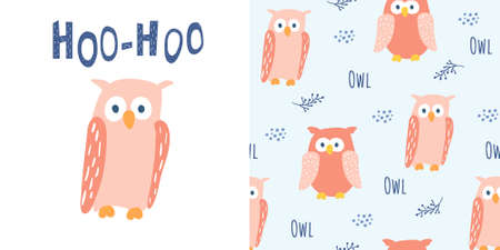 Cute red owl in cartoon style. With Hoo-Hoo lettering. And seamless pattern with owl characters. Good for children designs. Isolated element on white background. Vector