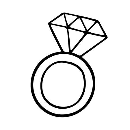 Simple ring with a diamond doodle icon. vector illustration