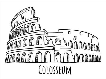 Colosseum digital hand drawn sketch. With Colosseum sign. Good for postcards. Vector isolated on white background