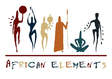 African elements paleo rock carvings