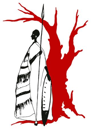 African man contour vector illustration portrait
