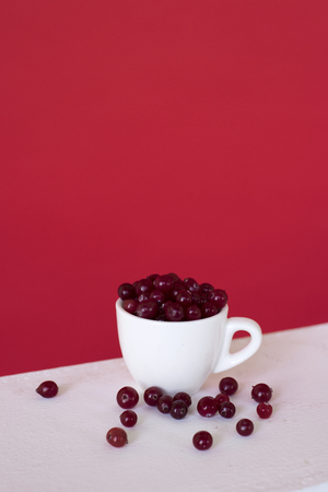 A white cup with red currant berry on a red background. small fruit