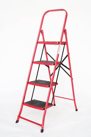 RED stepladder on a white background. isolated stepladder