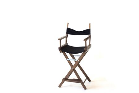 Black director chair use in video production or movie and cinema industry. Its put on white background. isolated
