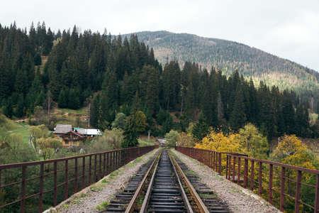 Railway bridge across a valley in the mountains in the typical Ukrainian village of Vorokhta near Hoverla, Carpathians.