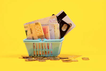 Shopping basket with coin, credit card and ukrainian bills hryvnias on yellow background. Space for text. Close up. Business concept. 免版税图像