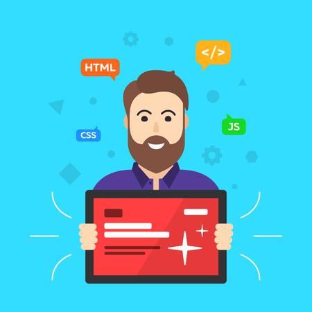 web developer: Web designer. Programmer. Site developer. ? Lient flat vector illustration