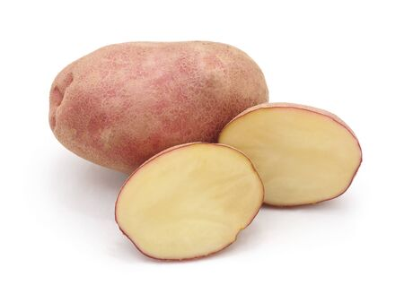 Raw potatoes cut in half isolated on a white background.