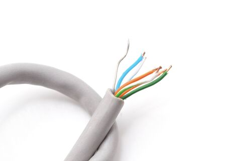 One electrical cable isolated on a white background. Imagens